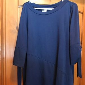 Navy blue sweatshirt material blouse w/ties